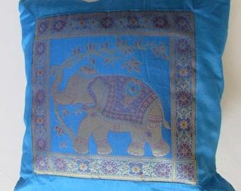 "Indian Cushion Cover Single Elephant Design Turquoise Colour 16"" x 16"" Bohemian Pillow Case Meditation Yogi Hippie Free UK Shipping"