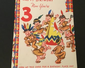 Vintage Birthday 3 yr old, Native American themed, fold out design