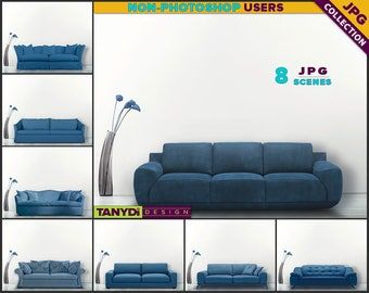 Living Room SC-12 | Blue Sofa Interior | 8 JPG Blank Living Room Wall Styled Scenes | Wall Decor Scene Creator