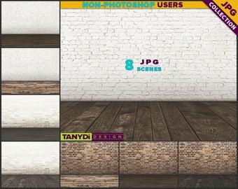 Empty Room ER-C5   8 JPG Interior Scene   Blank White Creamy Red Brick Wall   Dark Wood Floor   Product Display Scene Creator