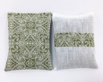 Linen and Cotton Lavender Sachets, Green and White, Sachet Fresheners, Petals in Green