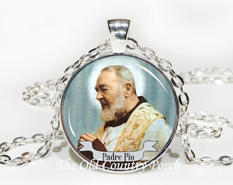 Padre Pio Glass Pendant Necklace with Chain
