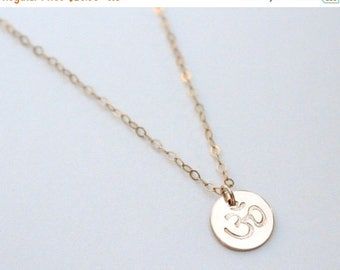 SUMMER17 Tiny Om Necklace / Yoga Necklace / Ohm Necklace / Om Charm / Gold Om Necklace / Om Jewelry / Zen Necklace / Gold or Silver