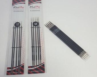 KnitPro Karbonz double pointed needles, dpns, 1-6mm, 20cm, set of 5