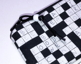 Crossword Puzzle Coin Pouch, Change Purse, Small Zipper Pouch, Gift Card Pouch, Business Card Case