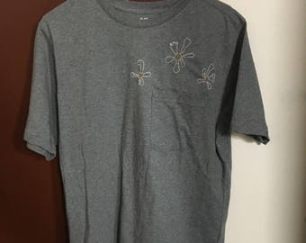 Grey Embroidered Flowers Pocket T