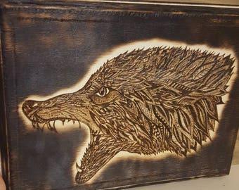 Custom Wood Burning of Wolf