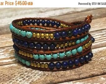 SUMMER SALE Blue Chan Luu Style Wrap Bracelet / Healing Crystal Bracelet / Chan Luu Bracelet / Chakra Bracelet