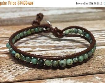 SALE Healing Crystal Bracelet / African Turquoise Bracelet / Chakra Healing Bracelet / Single Wrap Bracelet / Chan Luu Style Bracelet