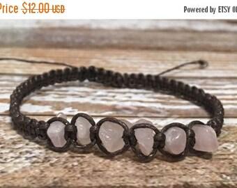 SALE Rose Quartz Healing Bracelet / Raw Crystal Jewelry / Healing Crystal Bracelet / Healing Crystal Jewelry / Raw Rose Quartz Jewelry