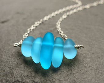 Sea glass necklace, sterling silver, 14k gold filled, turquoise blue, sea glass jewelry, beach glass, something blue, natural jewelry