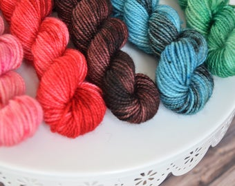 Macaron Mini Skein Set on Soft Sock, Mini Skeins, Sock Yarn Mini Skeins