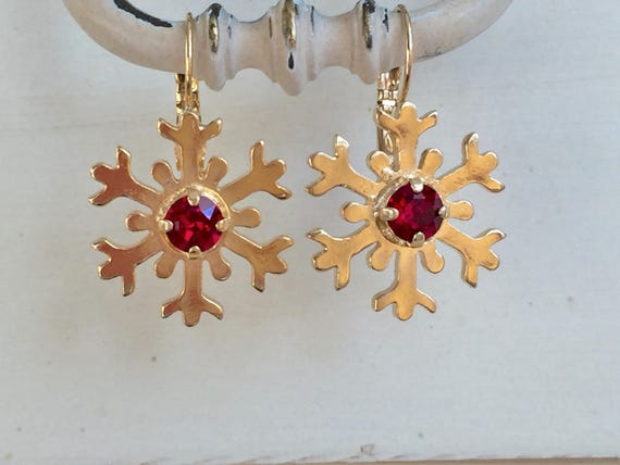Ruby Crystal Snowflake Earrings, Yellow Gold