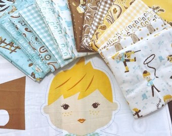 Fat Quarter Bundle Howdy by Stacy Iest Hsu for Moda - 16 Total Fabrics Includes Panel! BOY Bundle