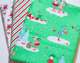 1 Yard Bundle Pixie Noel by Tasha Noel for Riley Blake Designs-3 Fabrics