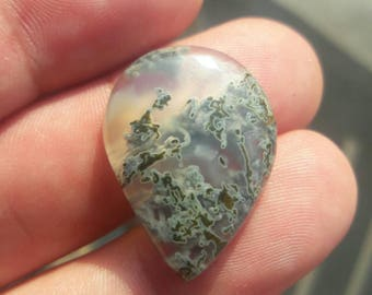 Small frosty green moss agate cabachon