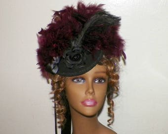 Black Victorian Hat Fascinator Red Feather Gothic Steampunk Lolita Costume Headpiece Old West  Marie Antoinette