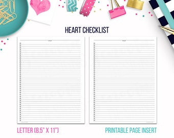 Letter: Heart Checklist • Printable Page Insert for BIG Happy Planner® & Letter sized Discbound or Ringbound Agendas, Organizers or Planners