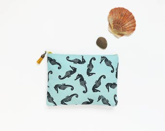 Hand printed cotton canvas clutch: Seahorses