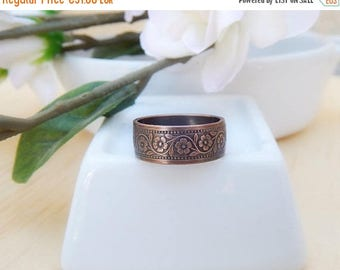 ON SALE 10% Copper ring,flower ring,floral ring,bohemian,size 58 (US 8 1/8),etched copper,textured copper,oxidized copper,copper flower,hand