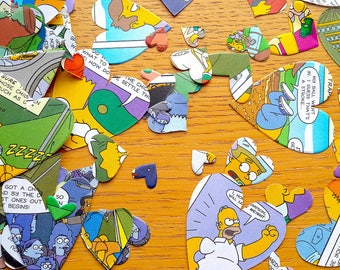 Comic Book Confetti-Simpsons Book Confetti Shapes - Comic Book Party- Comic  Book - 150 Birthday Party Paper Hearts  -  Party Table Decor