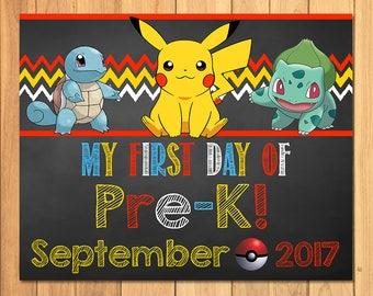 Pokemon First Day of Pre-K Sign September Chalkboard * Pokemon Back to School Sign * Pikachu Photo Prop Sign * Pokemon Printable