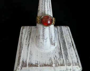 Vintage Afghan Tribal Kuchi Ring Carnelian Center Well-Traveled Jewelry 7.25