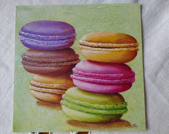 Card macarons ref7 for cartonnage or framing
