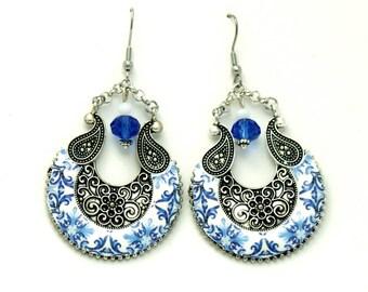 Portuguese Viana chandelier earrings, portuguese tile, bohemian chic earrings, folk portugal jewelry, statement earrings, anniversary gift