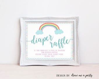Diaper RAFFLE SIGN , Baby Shower Diaper Raffle , Baby Shower Games , Rainbow Baby Shower Baby Shower Activity Printable Instant Download RP