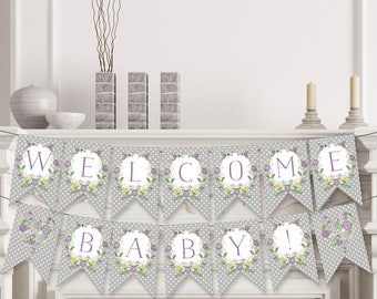 Purple Grey Baby Shower Banner , Purple Baby Shower Decorations , Welcome Baby Banner , Floral Baby Shower , Printable , Instant Download