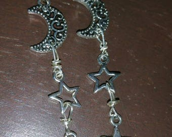 Moon Earrings, Star Earrings, Dangle Earrings, Halloween Earrings, Divination Earrings, Wiccan /Pagan Earrings, Tarot Cards