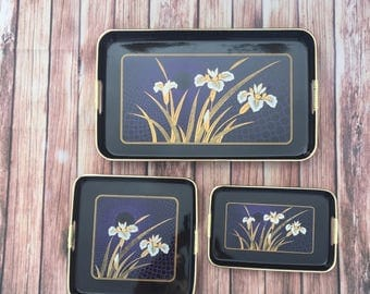 VTG Black Lacquer Nesting Serving Display Trays, set of 3,  Floral Motif