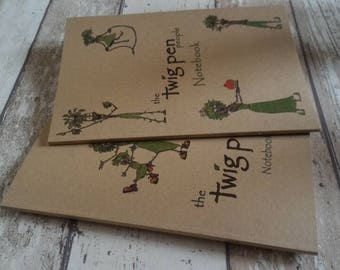 x2 The Twig Pen People Eco Notebooks.  Recycled card and paper.