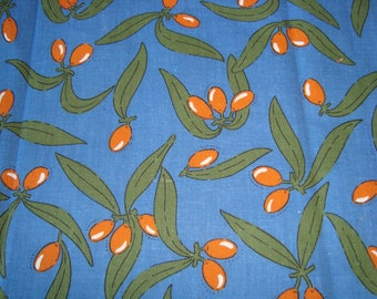Provence blue with olive background cotton fabric