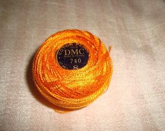 Pearl cotton yarn has DMC No. 8 orange embroidery