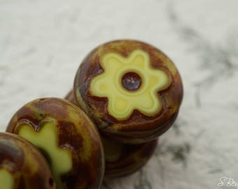 Vintage Yellow, Flower Beads, Czech Beads, Beads, N2173-1