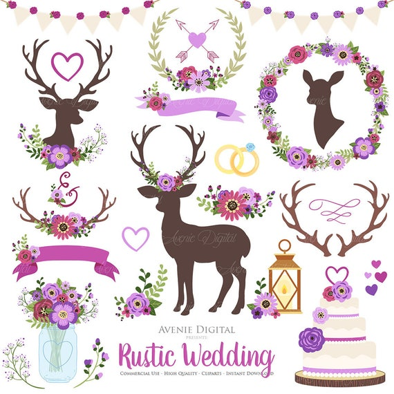 Wedding Graphics: Purple Rustic Wedding Clipart. Scrapbook Clip Art Deer