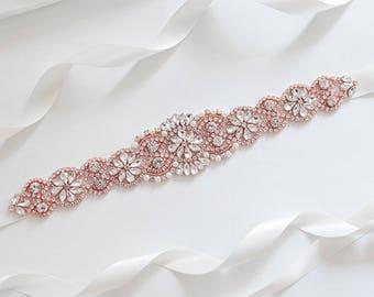 Wedding Belt, Bridal Belt, Rose Gold Wedding Belt, Bridal Sash Belt