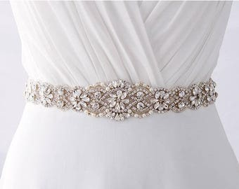 SALE Bridal Belt, Beaded Bridal Belt, Crystal Bridal Belt, Pearl Bridal Belt, Rhinestone Bridal Belt, Bridal Belt Sash / B202