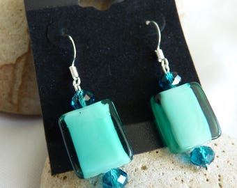 Blue Lampwork & Crystal Glass Bead Earrings