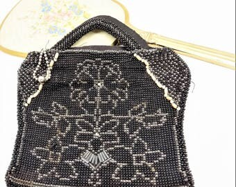Czechoslovakian Glass Beaded Purse, Black and Clear Beads, Floral Design