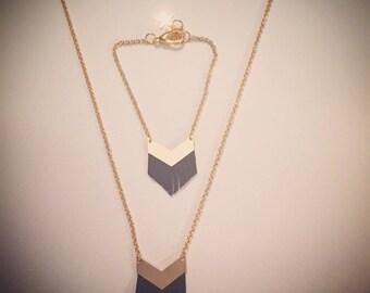 """""""ANNCHA"""" chevron leather fringe necklace"""