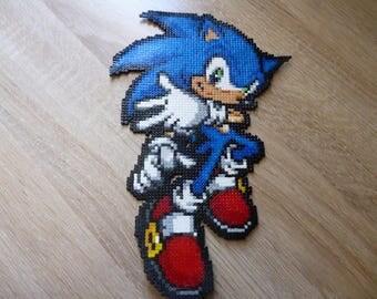 Sprite of Sonic - Sega Hama Beads Pixel Art • • • Perler beads