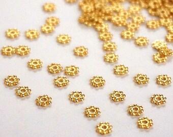 20 Indian, Metal Gold, diamond beads. : 4.5 mm