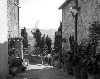 Italy photography, Italy wall art prints, Italy wall decor, Tuscany prints, Pienza prints, Tuscany wall art, Black and white prints, Italy