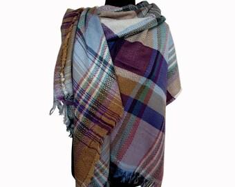 Blue Oversized Scarf, Plaid Scarf, Tartan Scarf, Checkered Shawl, Blue Blanket Scarf, Christmas Gifts for Mom, Wrap Shawl, Plaid Fall Scarf