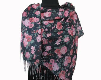 Black Pink Scarf, Floral Pashmina Scarf, Boho Shawl, Fashion Shawl, Mothers Day Gift, Scarves for Women, Christmas Gifts, Autumn Scarf