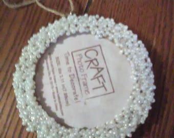 Beaded Photo Frame Ornament in White