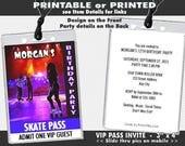 Roller Skating VIP Pass Invitation, Printable, Roller Skates Party, Girl Birthday Party, Invites for Roller Rink